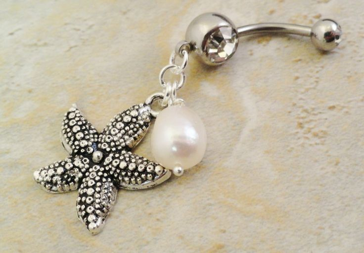 Starfish and Pearl Belly Button Ring Belly Jewelry. $15.00, via Etsy.