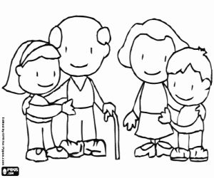 Colorear Los abuelos con los nietos