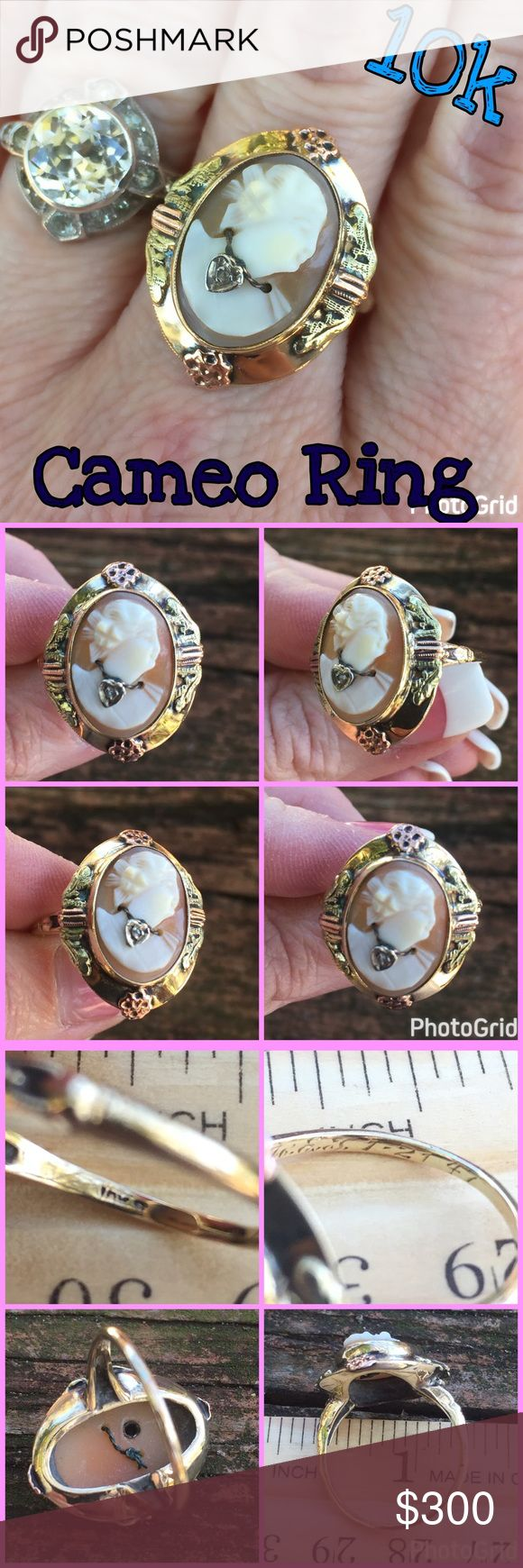 40's Vintage 10k Cameo w/ beautiful detail Ring Wow! Beautifully Detailed 10k Yellow Gold Vintage Cameo w/ Diamond Heart Necklace Ring. Size 8. Marked: 10k S 1947 w/ engraving I can't make out. Weight 4.45 grams. If this ring could talk.. 💗 The ring is vintage, pre-owned & will show some signs of having been worn. Listing Images Are Of The Item Being Offered. Please ask all questions before purchase. I ship same day! Buy w/ confidence 380 5 star feedback. Please make any reasonable offers…