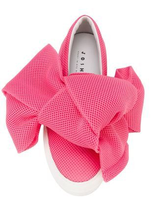 Pink Mesh Bow Slip-On Sneakers