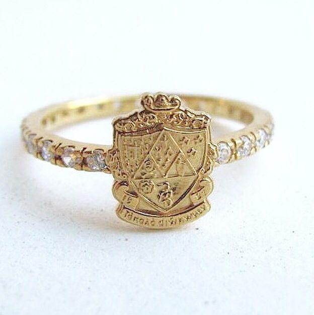 Malick & Grace sorority crest ring in Kappa Delta