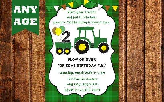 John Deere Inspired Birthday Invitation 17 Best Ideas About Tractor Invitations On