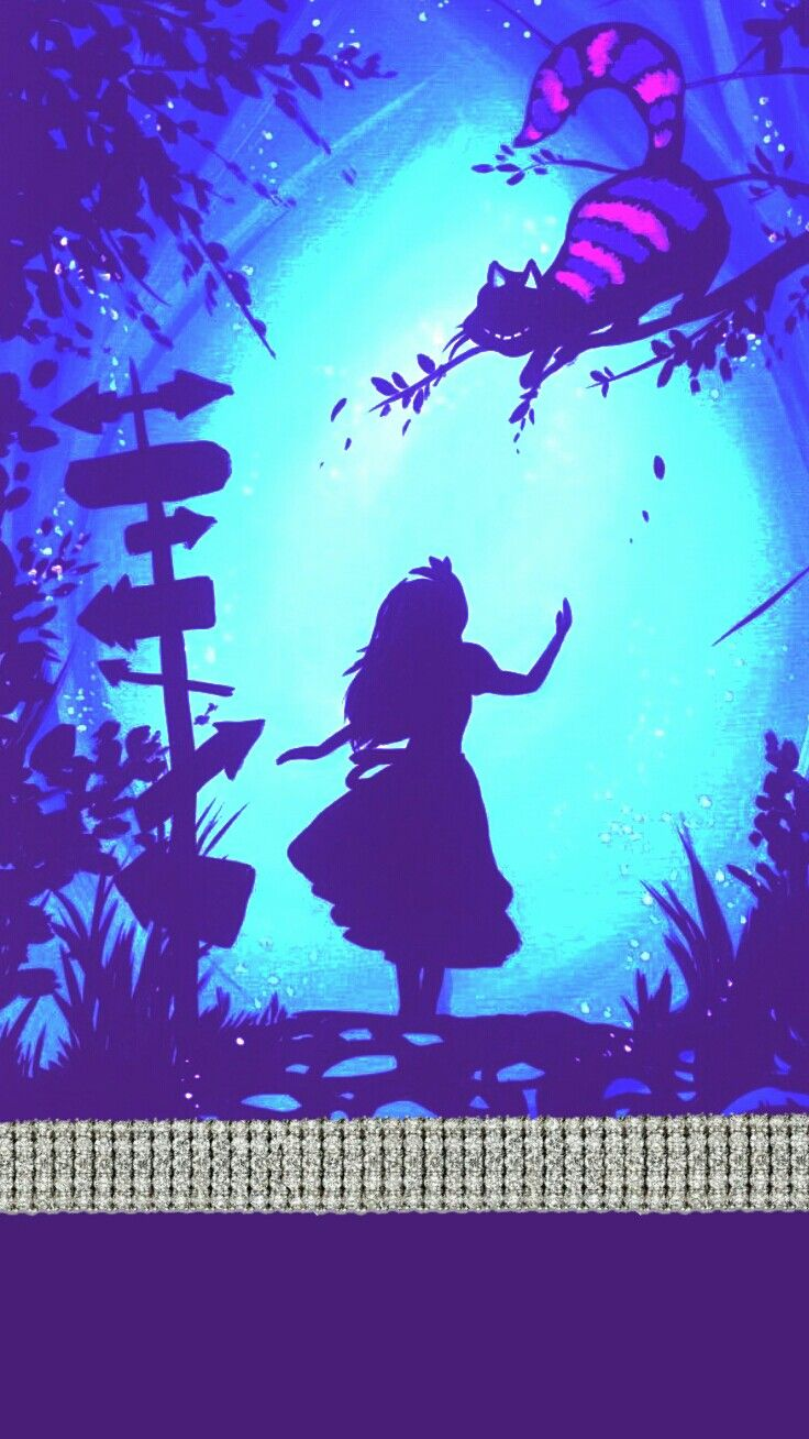 Aliceandwonderland Cheshirecat Bling Purple Teal Madebyniki
