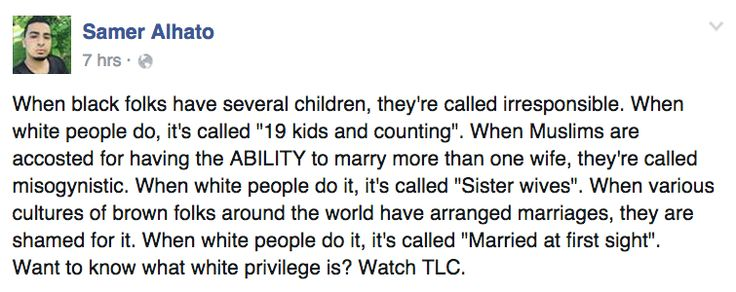 White privilege in America gets you a TV show for the same behavior that non-whites are reviled for.--damn. Hit the nail on the head.