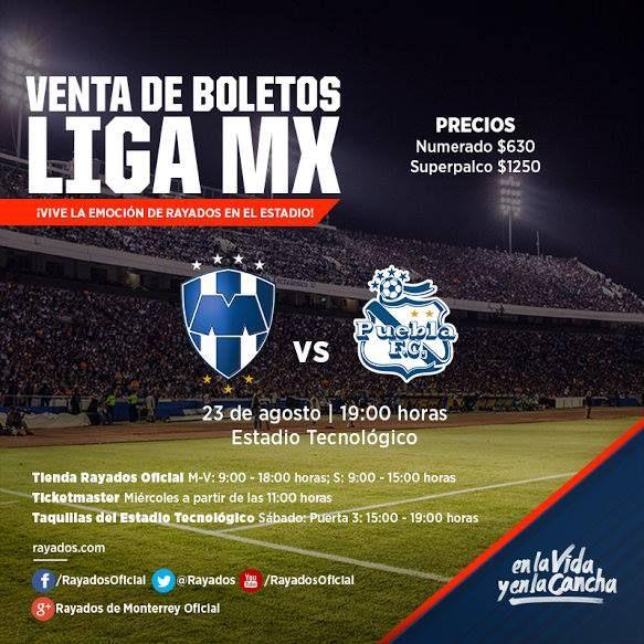 Boletos #Rayados para el partido de hoy disponibles de Taquillas del Estadio Puerta 3 de 15:00 a 19:00hrs. ¡Te esperamos! #VamosRayados.
