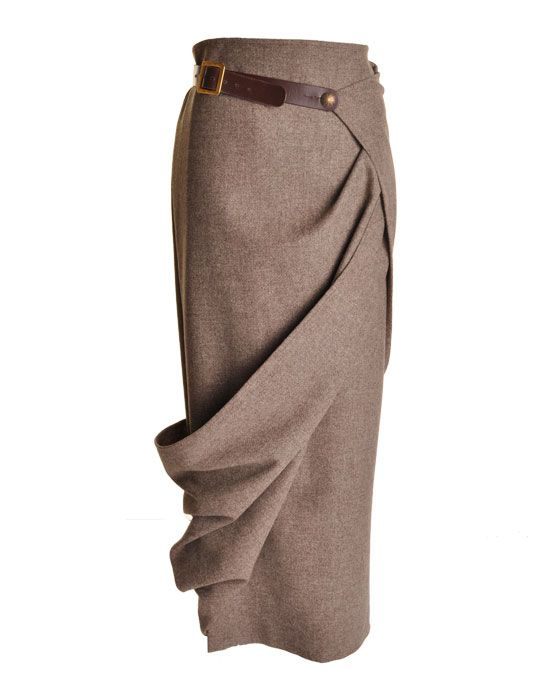 long wrap tweed skirt