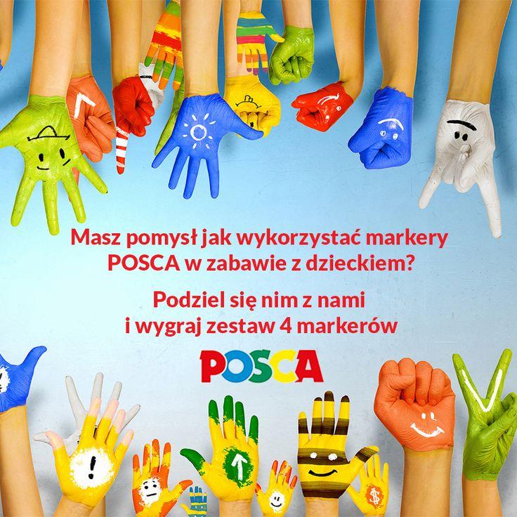 """Zapraszamy do wspólnej zabawy """" POSCA w zabawie z dzieckiem """". Jak wziąć udział w naszej zabawie ? To proste  - Polub nasz fanpage - Polub nasze posty - Udostępniaj posty - Zaproś znajomych do zabawy - Podziel się pomysłem jak wykorzystać markery POSCA - odpowiedź umieść w komentarzu .  Każdego dnia roboczego nagrodzimy jednego uczestnika naszej zabawy zestawem markerów POSCA Im większa twoja aktywność tym większa szansa na otrzymanie nagrody / wymagana do otrzymania nagrody jest odpowiedź…"""