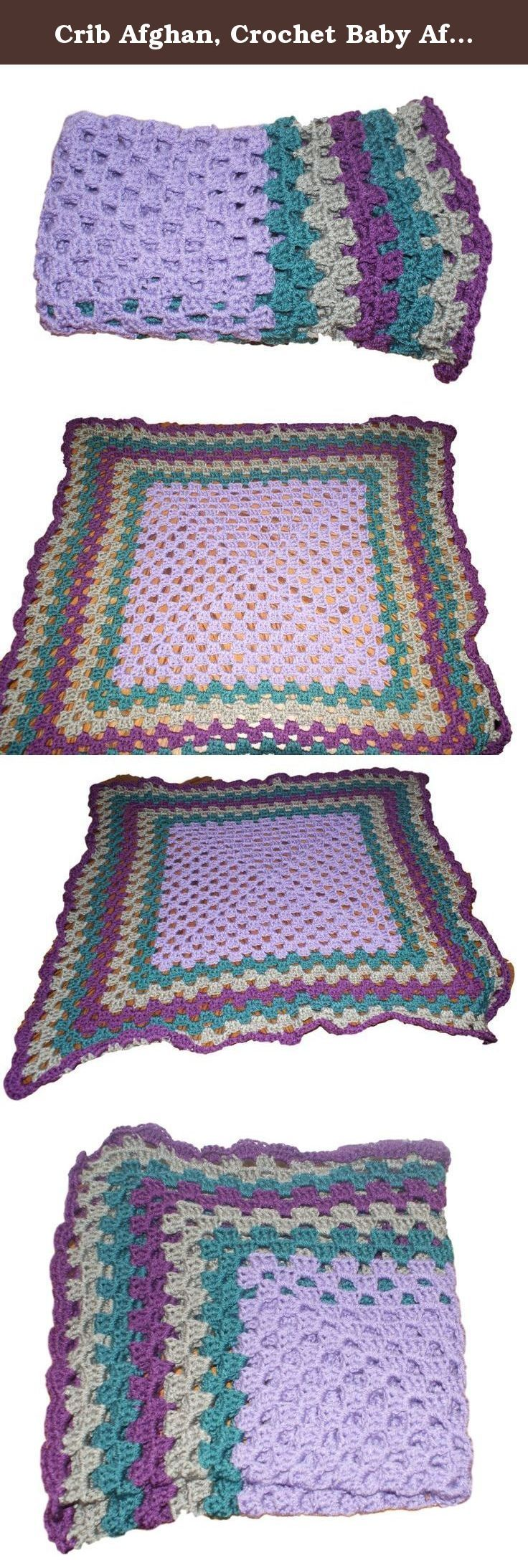 """Crib Afghan, Crochet Baby Afghan, Heirloom Blanket, Granny Afghan, Purple Baby Blanket, Granny Square Afghan, Heirloom Afghan, Baby Afghan. his soft and beautiful purple and teal, gray and mulberry baby blanket is perfect to bring newborn home in. The handmade crochet baby afghan measures 36""""x36"""". Great as a carriage blanket or car seat blanket. Wonderful for baby or toddler to snuggle with. What a beautiful blanket for an heirloom! Crocheted out of ultra soft yarn in Amethyst, Gray, Teal..."""