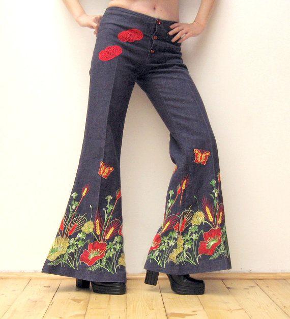 Unieke Vintage 70's Bell Bottom Jeans van WILDandROMANTIC op Etsy
