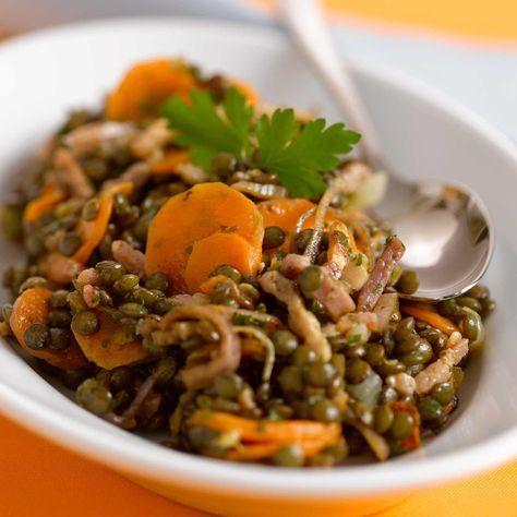 Salade hiver Découvrez la recette de la salade de lentilles aux carottes et lardons