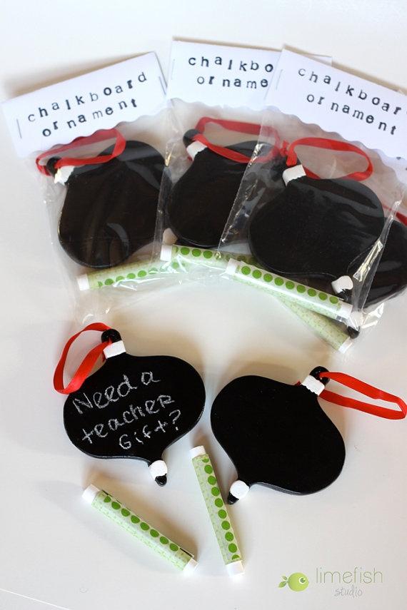 Chalkboard Ornament Gift Set, Hand-Painted, Teacher Gift Idea.
