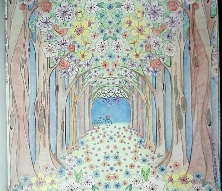 Joyous Blooms To Color Eleri Fowler Forest Path Adult Coloring