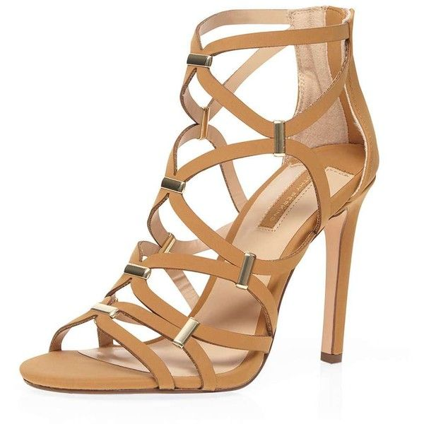 Dorothy Perkins Tan 'Safari' Caged Sandals ($59) ❤ liked on Polyvore featuring shoes, sandals, heels, brown, tan high heel sandals, brown heeled sandals, brown sandals, brown high heel sandals and synthetic shoes