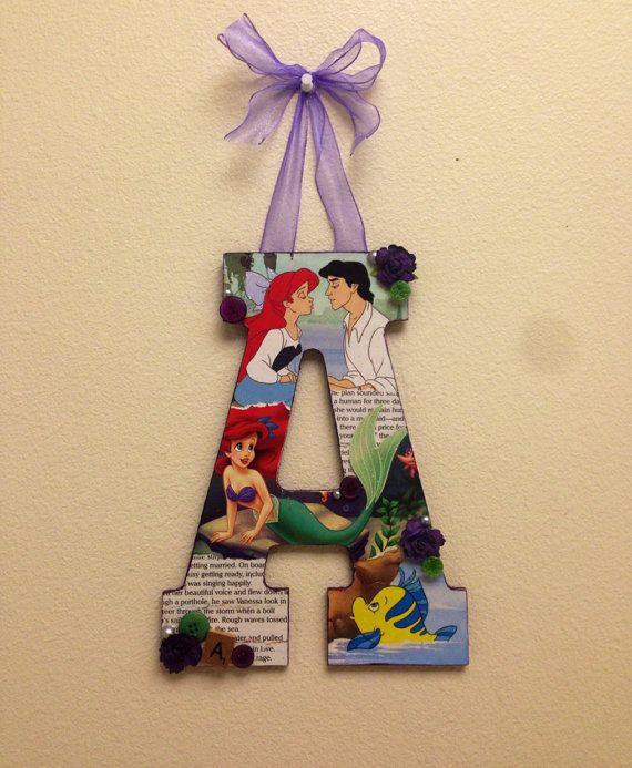 "Disney Little Mermaid letter ""A"" wooden letter size - 11"""