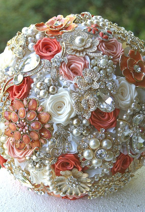 Coral Peach Gold Wedding Brooch Bouquet.  (Need to figure out how to make one of these). This would be awesome to display in your home after the wedding is over.