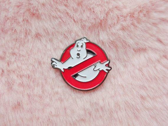 Vintage Retro 80s Creepy Ghostbusters Halloween Ghost Pin Badge