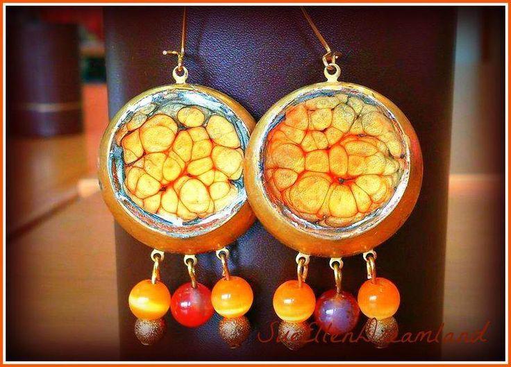 Easter sale 10% ,pebeo enamel dangle earrings brass  resin red orange agate ,ooak,ready to ship,egst,original gift for her,Greek shop by SueEllenDreamland on Etsy