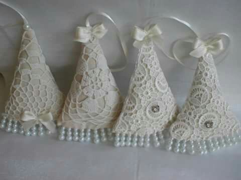 fabric and lace Christmas ornaments by Babu Szabo