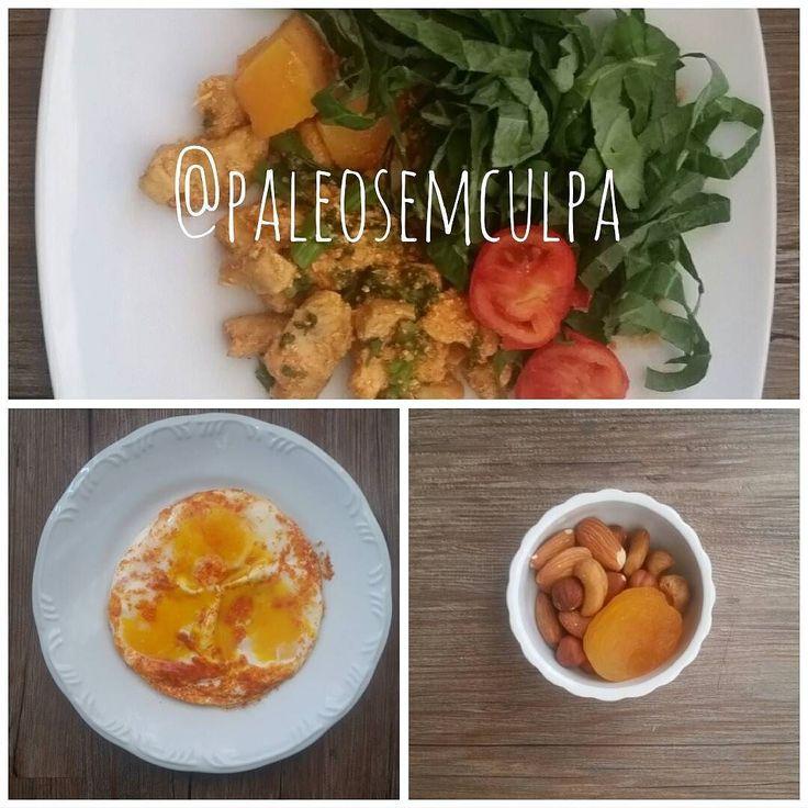 As três refeições de hoje: porção de oleaginosas; 3 ovos; frango com brócolis tomate abóbora e couve.  Tem dúvidas sobre a paleo? LINK NA BIO! #dieta #dietas #dietasempre #dietasemsofrer #dietapaleolitica #dietapaleo #paleo #paleofood #paleobrasil #paleolitica #paleolife #paleolifestyle #paleodiet #mydiet #eatclean #primal #primalfood #realfood #bixoeplanta #bichoeplanta #eatreal #fit #primalbrasil #fitfood #reeducacaoalimentar #saude #saudavel #vidasaudavel #comersaudavel #semmedodagordura