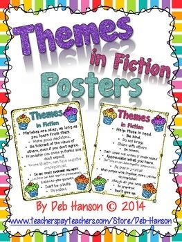 """This file contains two posters.  I use this when I teach students how to identify themes in  My hope is that when my students see the word """"theme"""" in the future (perhaps even on a standardized test!), they will recall this experience of making """"theme-filled cupcakes"""" and remember that they need to determine the hidden message in the story."""
