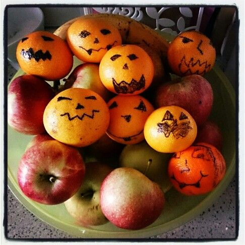 Decorating the fruit for Halloween