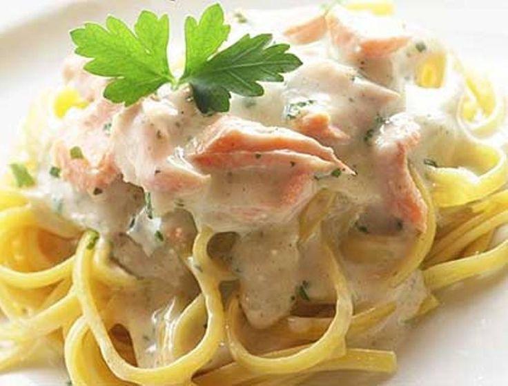 Συνταγή: Ζυμαρικά με σολομό και κρέμα γάλακτος (Πετρετζίκης) « Συνταγές με κέφι