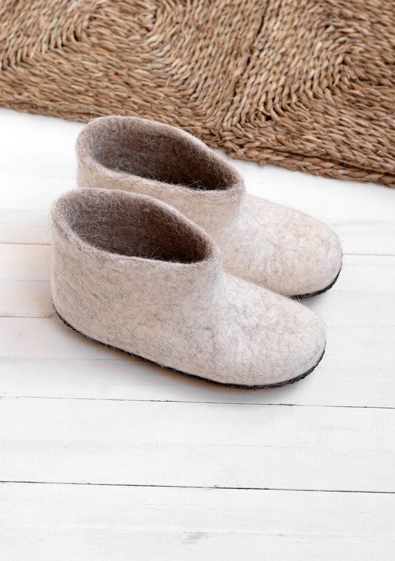 a30cf8e0267 Felt slippers with soft sole for women- Boiled wool slippers- Warm slipper  boots- Felt slippers women- Felt boots- Eco friendly shoes