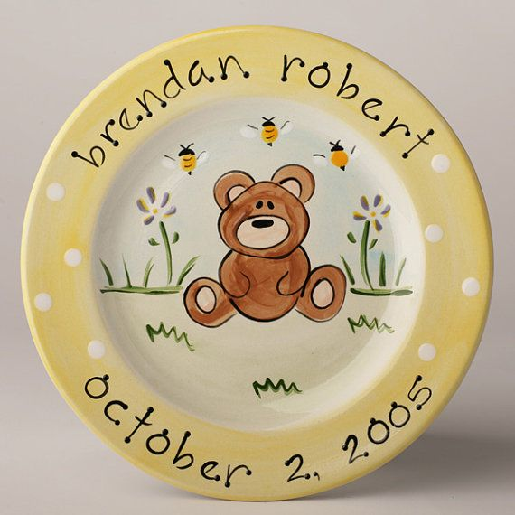 personalized hand painted baby bear birth plate by suzaluna, $48.00