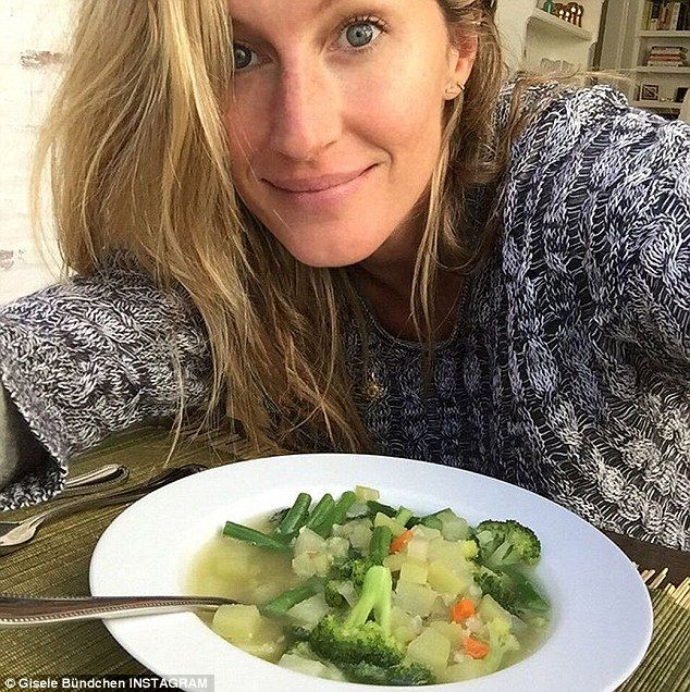 She eats right: Makeup-free Gisele Bundchen showed off a bowl of vegetables she made herse...