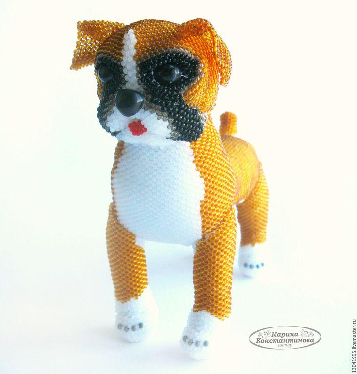 Купить Боксер Тайсон из бисера - бежевый, игрушка из бисера, собака из бисера, боксер, собака игрушка