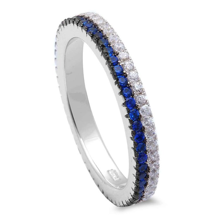 3mm Full Eternity Thin Blue Line Band For Ring by BlueAppleJewelry