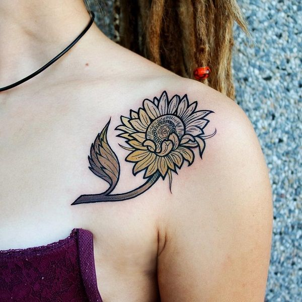 Gradient colored sunflower tattoo idea - 60+ Sunflower Tattoo Ideas