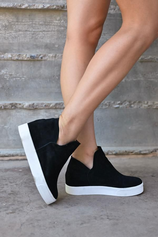 917625ba34f STEVE MADDEN Wrangle Wedge Sneakers - Black in 2019 | Closet Candy ...