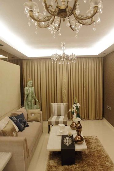 Living Room With Crystal Chandelier Design By Shahen Mistry Architect In Mumbai Maharashtra India