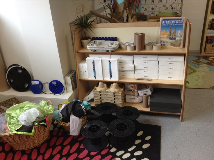 Deconstructed role play area. These are all the smaller items which the children can use alongside the larger cardboard boxes to create anything that they choose!