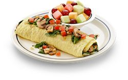 IHOP breakfast I always get - SIMPLE & FIT Spinach, Mushroom & Tomato Omelette.  A healthy meal loaded with spinach, mushrooms, onions and Swiss cheese with diced tomatoes on top from the SIMPLE & FIT menu at IHOP. Under 600 calories.