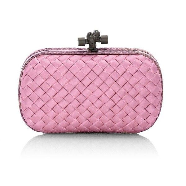 Bottega Veneta Woven Mini Knot Clutch (91.940 RUB) ❤ liked on Polyvore featuring bags, handbags, clutches, snake print purse, pink handbags, mini purse, pink clutches and pink purse