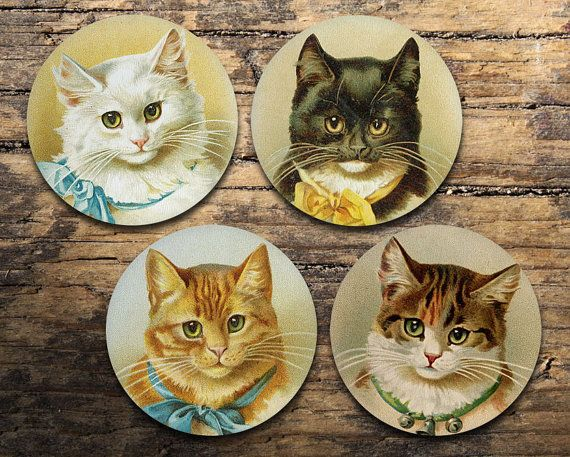 Cat Faces Coaster Set of 4 - Vintage Cat Faces - Drink coasters
