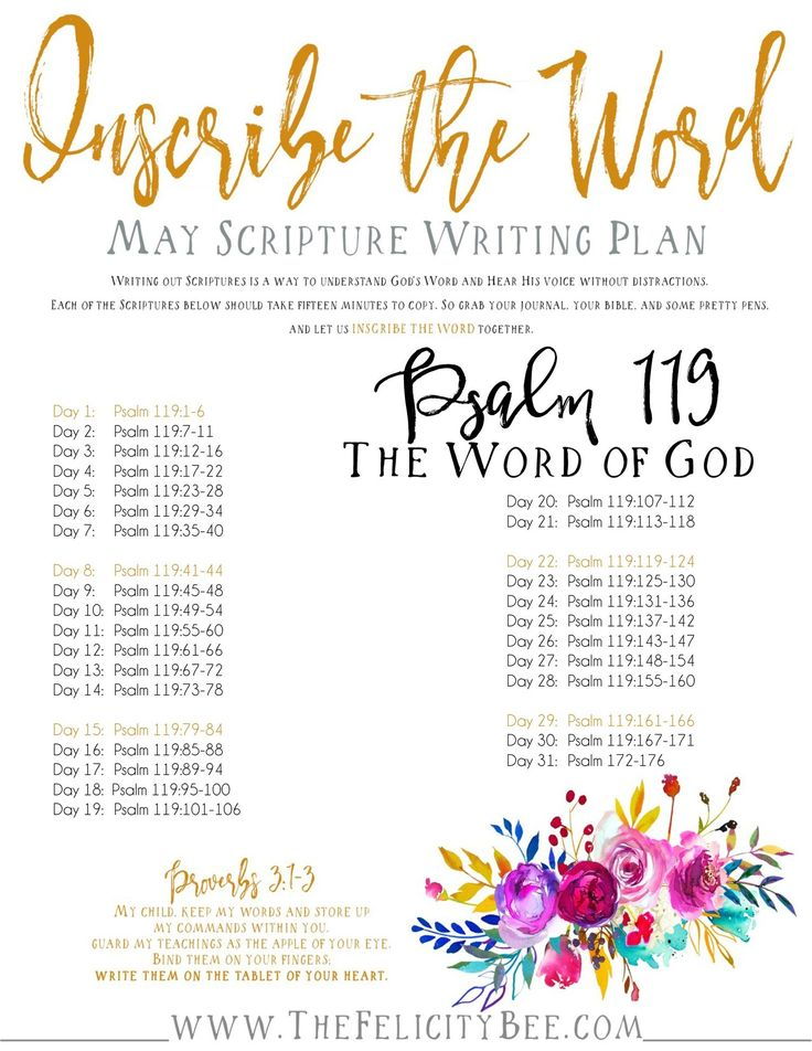 The Inscribe the Word for May Scripture Writing Plan is here!  Our May Scripture Writing Plan will focus on Psalm 119 and renewing our love, desire, and hunger for The Word of God. Join us as we Inscribe the Word!