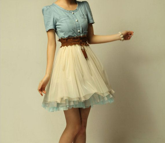 I would wear this all the time.: Cowgirl Boots, Denim Dresses, Chiffon Round, Cowboys Dresses, Collars Dresses, Cowboys Boots, Sweet Dresses, Denim Skirts, Barns Dance