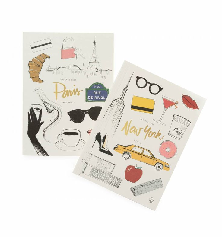 New York-Paris Single Notebook with Gold Accents