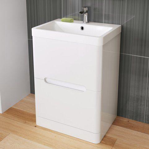 600mm Tuscany Gloss White Built In Basin Double Drawer Unit - Floor Standing