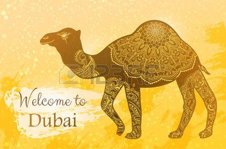 Carte avec chameau et Bienvenue Duba faite des animaux dans le vecteur Afrique Turquie Isra l et les Banque d'images