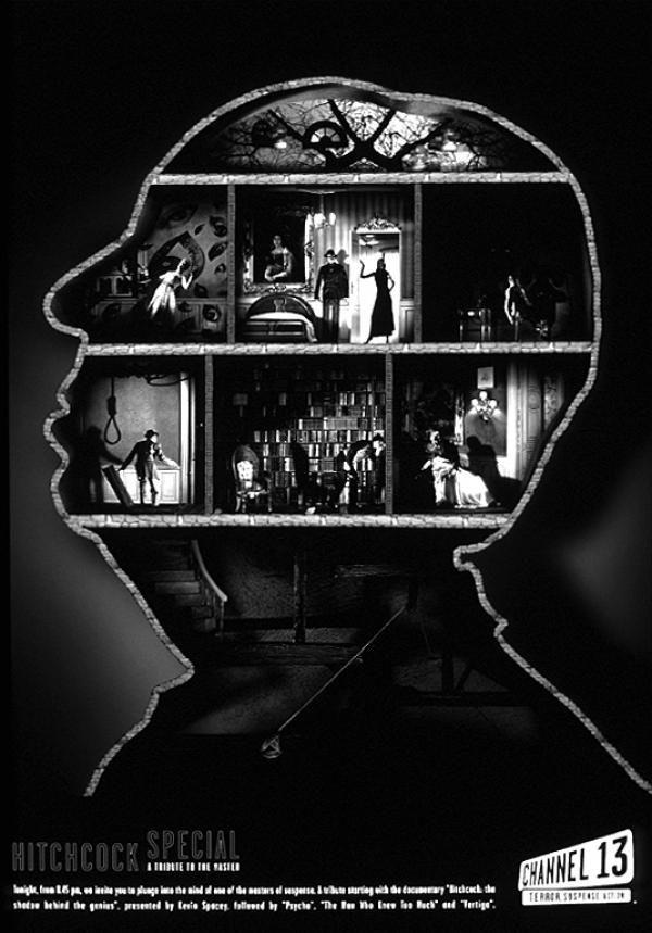 Perfil de Hitchcock para anunciar la cadena Calle13