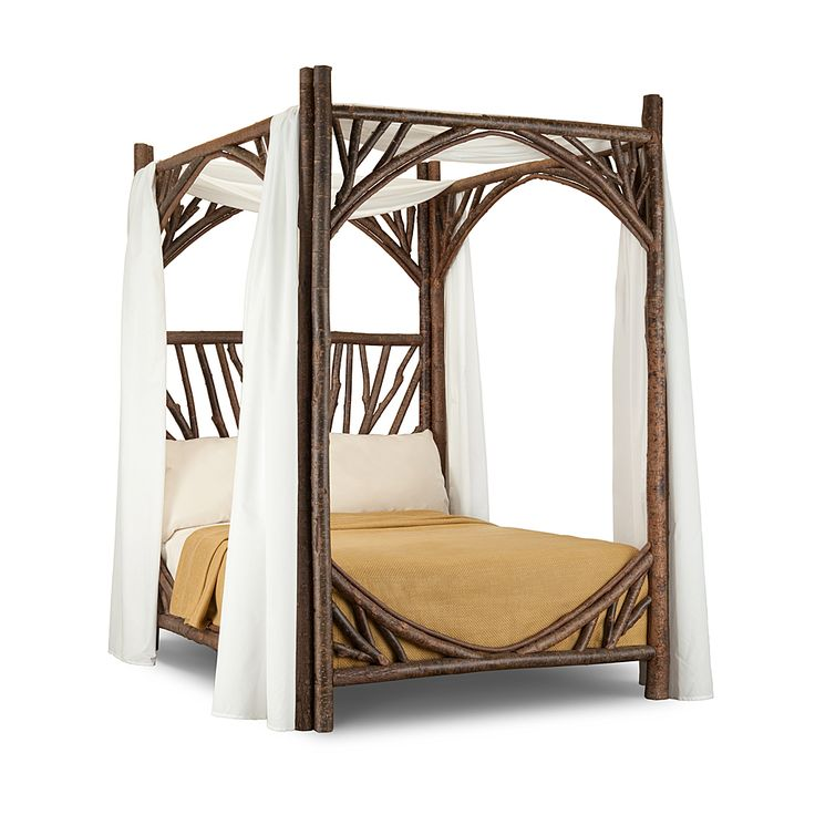 Rustic Canopy Bed Full #4278 shown in  Natural Finish (on Bark) by La Lune Collection