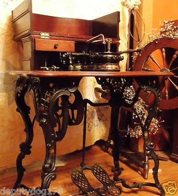 ANTIQUE FLORENCE FANCY LEG TREADLE SEWING MACHINE ~1867~