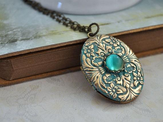 ENCHANTED, vintage brass locket necklace