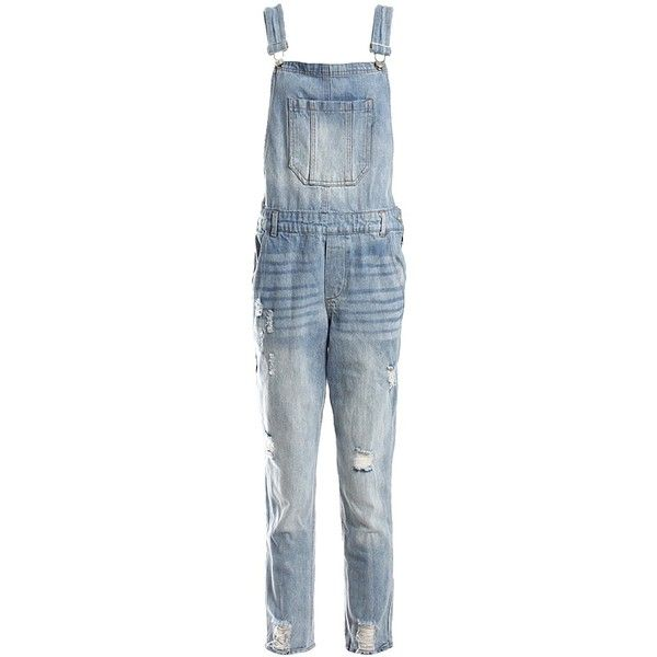 Sans Souci Distressed denim overalls (216920 PYG) ❤ liked on Polyvore featuring jumpsuits, denim, blue bib overalls, sans souci, bib overalls, overalls jumpsuit and blue overalls