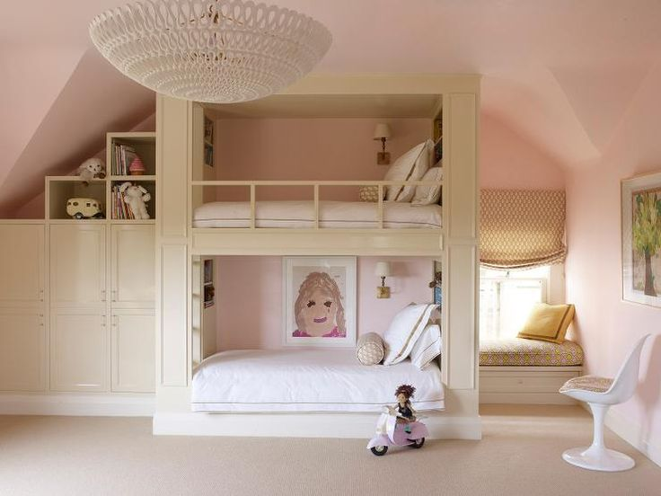 bunk room with window seat and adjascent storage; oly pippa ceiling fixture