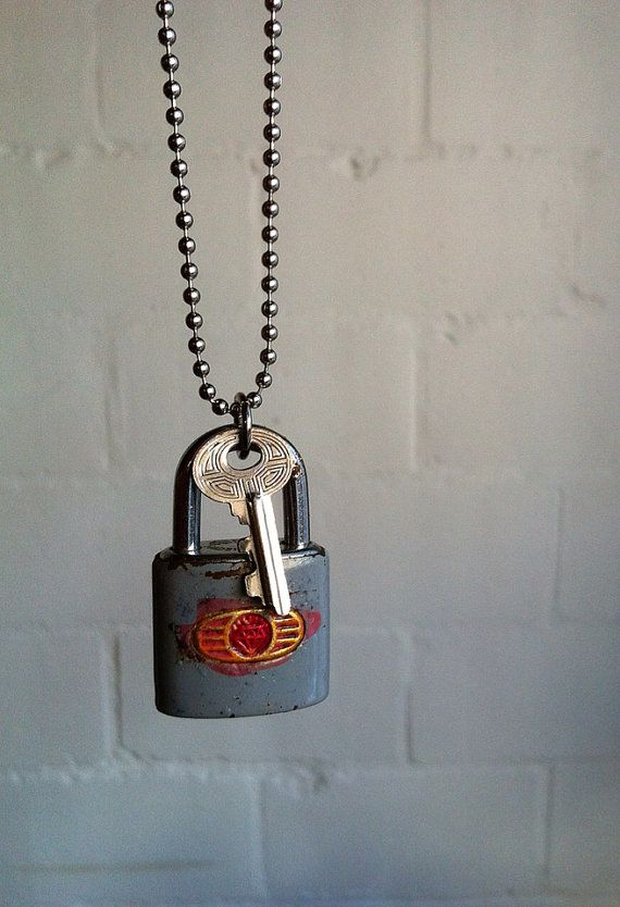 Upcycled vintage lock and key necklace
